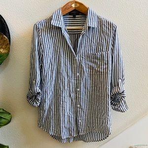 VELVET HEART gray stripe oversized blouse top M